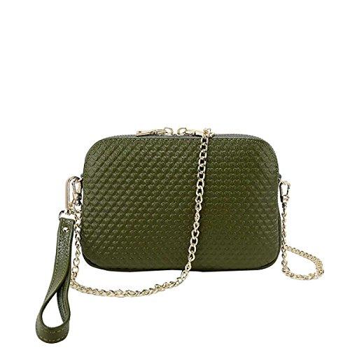 Frauen Leder Art Und Weise Beiläufige Schultertasche Kleine Quadratische Tasche Green