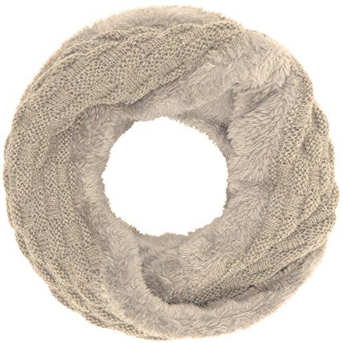 Compagno Winter Loop-Schal Damen-Schal gefüttert Winter-Schal Strick-Schal, SCHAL Farbe:Beige