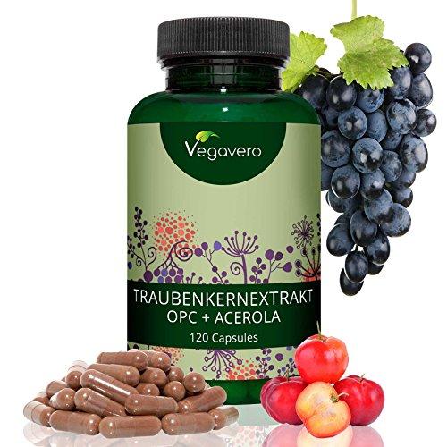 OPC Puro Extracto de Semilla de Uva + Vitamina C de Acerola | LA DOSIS MÁS ALTA | Sin Aditivos | 120 Cápsulas | Potentes Antioxidantes + Circulación + Salud Cardiovascular | Vegano | Vegavero