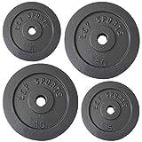 LCP Sports 30 kg Hantelscheiben 2x5 + 2x10 kg Gusseisen Gewichte 31 mm Bohrung