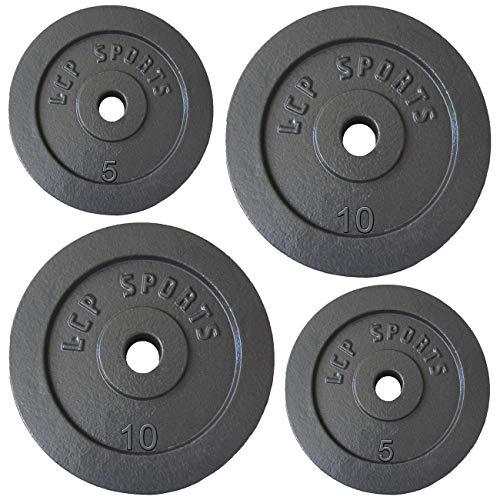 LCP Sports 30 kg Hantelscheiben Set 2 x 5 + 2 x 10 kg Gusseisen Gewichte 30/31 mm Bohrung