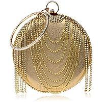 XNWYSTB Bolso de Novia \ Bolso de Noche de Embrague \ Bolsos de Hombro \ Bolso con Flecos para Mujer Vestido de Noche de Diamantes de imitación