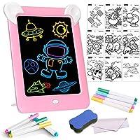 Tableta de Dibujo Pizarra 3D Mágica con Luces LED Educativo Infantil Borrable Dibujo de Graffiti Colorido Luminoso sin Papel & Marco de Fotos Regalos Juguetes para Niños (Rosa)