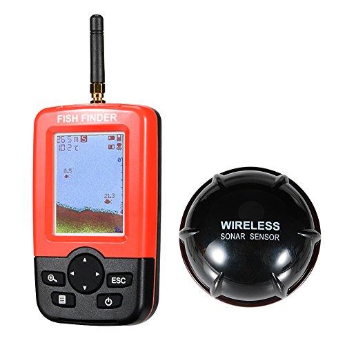 Zantec Smart Portable Fish Finder mit 100m Wireless & Wiederaufladbare Sonar Sensor Fishfinder Dot Matrix 45m Reichweite Colorized LCD Display Finder Fishfinder