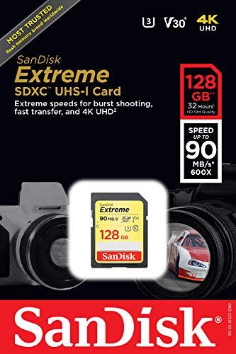 SanDisk Extreme 128GB, Scheda di Memoria SDHC Classe 10, U3, V30, velocità di lettura fino a 90 MB/sec