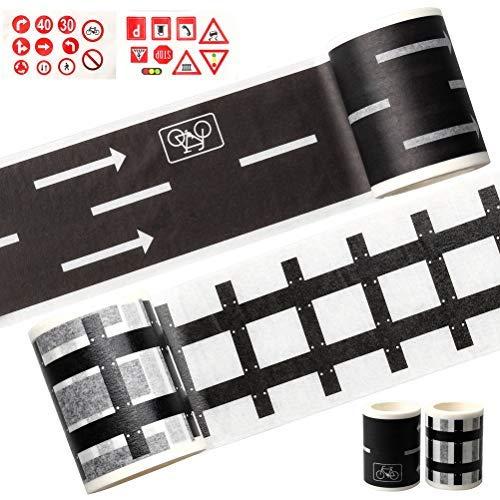 pengxiaomei 4er-Pack Straßenband, Zugband, Schienenband, Straßenschilder, Verkehrsschilder, Klebeband (Straße und Schiene)