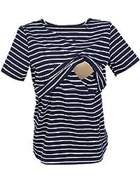 UTOVME Mujeres Camiseta de Lactancia Premamá Camisa de Maternidad Ropa de Enfermería, Rayado con Mangas Cortas