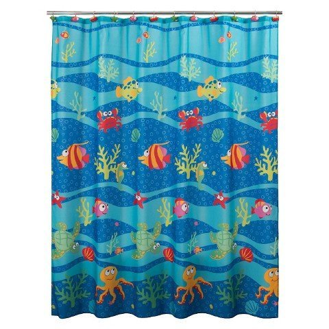 Allure Home Creation Fisch Tails Bad Ensemble, 100 % Polyester, multi, Shower Curtain -