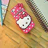 Explocart Hello Kitty Cute Silicone with Pendant Back Cover for Vivo Y55 / Y55L / Y55S - (Pink)