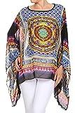 Kimono Bluse Abend-Bluse Tunika Shirt Sommerbluse Überwurf Stola Chiffon in vielen bunten Farben - Einheitsgröße One Size, auch für große Größen (Gelb-A95)