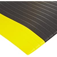 """NoTrax 410 PVC Airug Safety/Anti-Fatigue Floor Mat, for Dry Areas, 2' Width x 3' Length x 3/8"""" Thickness, Black/Yellow by NoTrax"""