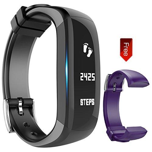 Fitness Armband, Sports Fitness Activity Tracker Armbänder Schrittzähler Touchscreen mit Step Tracker/Kalorienzähler/Sleep Monitor Tracker/Call Benachrichtigung Push für phone, Hembeer, (Lila Schwarz)