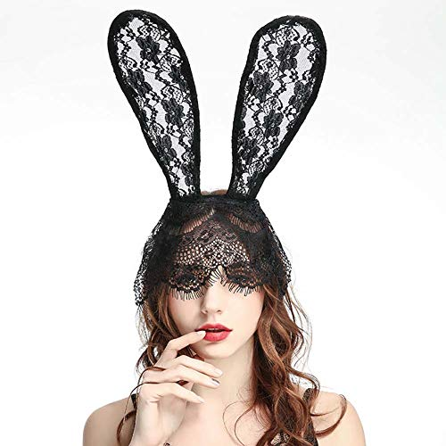Halloween Bunny Rabbit Ears filigranen Lace Veil Kostüm Masquerade Maske Haarband