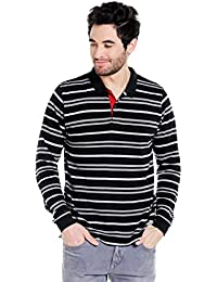 Cult Fiction Polo Neck Black & Grey Striped 100% Cotton Pique Fabric T-Shirt For Men