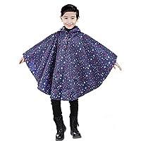 Aigori Children Windproof Waterproof Cloak Style Stars Pattern Raincoat Poncho with Hoodie