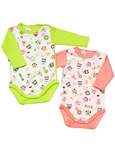 Klekle Baby Mädchen Langarm Body 2er Set Eule Rosa/Eule Grün 22793 Größe 56