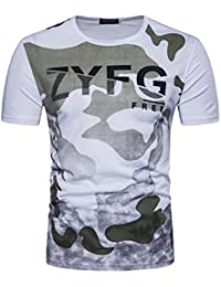 Venmo Camiseta Para Hombre Camuflaje Militar O-Cuello de Manga Corta Camisa Slim Fit Casual t Shirt Men Gym
