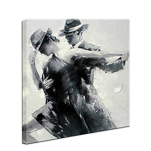 Enweonga Tanzendes Paar Auf Leinwand, Moderne Schwarz Und Grau Leinwand Bild Für Home Office Hotel Wohnzimmer Schlafzimmer Wand Kunst,28