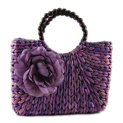 DELEY Femme Filles Doux Été Vacances Plage Perlée Rosette Fourre-Tout Sac À Main Handbag Violet