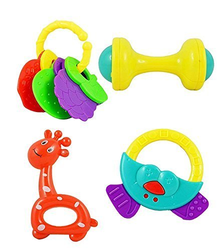 VistaraTrade High Quality Non Toxic Baby Toys Rattle Set of 4 Pieces for Infants and Toddlers - Multi color