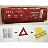 Cars HSE First Aid Kit Bandages Case Warning Triangle Reflective Vest First Aid To 4/2019 COMBI Bag Red First Aid According to DIN 13164 and Warning Triangle ECE and Visibility Jacket EN