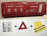 Kit de primeros auxilios rojo, primeros auxilios según DIN 13164 + triángulo de advertencia ECE + chaleco de advertencia ES