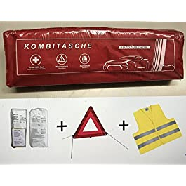 Cassetta del pronto soccorso, per automobile, con gilet e triangolo, rosso, conforme a DIN 13164