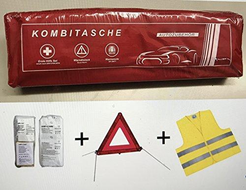 erste hilfe auto set PKW KFZ Verbandkasten Verbandtasche Warndreieck Warnweste Erste Hilfe Kombitasche rot, Erste Hilfe nach DIN 13164 + Warndreieck ECE + Warnweste EN