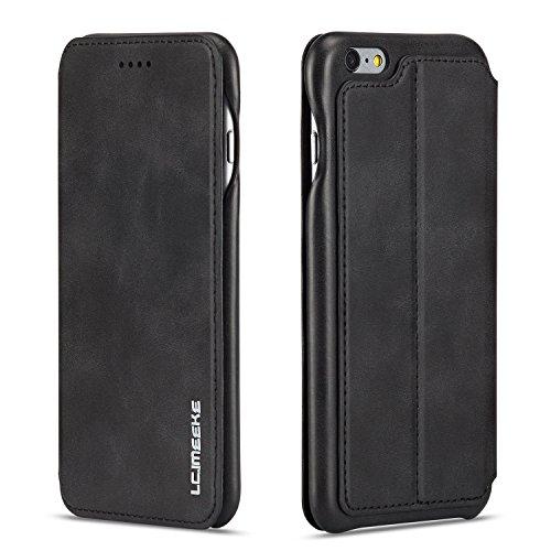 QLTYPRI iPhone 7 8 Hülle, Premium PU Leder Handyhülle Ultra Dünne Ledertasche Magnetverschluss Standfunktion & Kartensfach Wallet Case Flip Schutzhülle für iPhone 7 iPhone 8 - Schwarz
