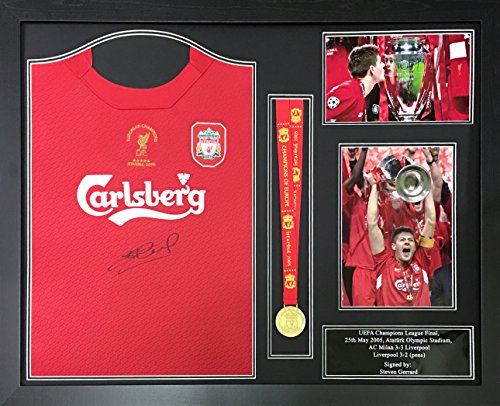 7d90aded46d Steven Gerrard signed   framed Liverpool 2005 Champions League Final shirt    medal display with COA and proof