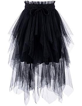nearkin para mujer Cintura de concha floral con cordones lápices de Midi falda