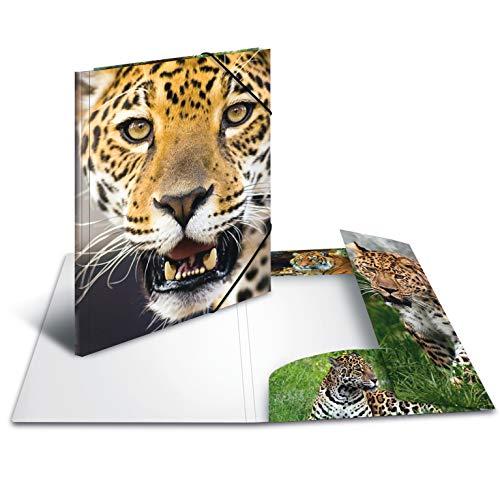 HERMA 7142 Sammelmappe DIN A3 Tiere Leopard aus stabilem Kunststoff mit bedruckten Innenklappen, Gummizugmappe, Eckspanner-Mappe, 1 Zeichenmappe für Kinder