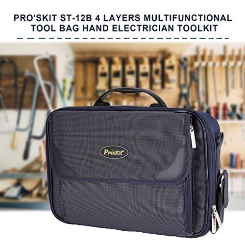 Footprintse Pro'skit ST-12B 4 Schichten Multifunktions Werkzeugtasche Hand Toolkit Elektriker Diagnose-Toolm Boxen Reparatur-Tools Organizer-Farbe: schwarz