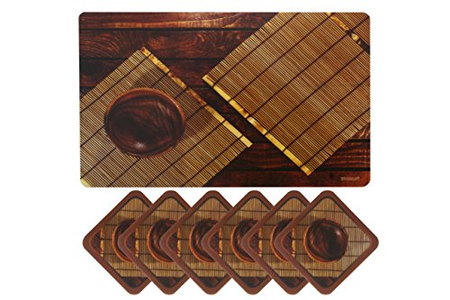 Yellow Weaves™ 6 Piece PVC Dining Table Placemats With Tea Coasters(Exclusive Design)