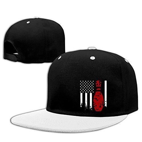 Deffwvv Women Men Baseball Caps,Classic Bowling USA Flag Flat Peaked Caps for Women Men - Rvca Baseball