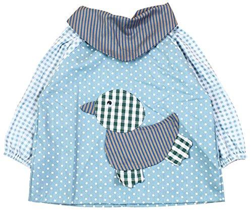 SUNNY JU - Babero Bebé Manga Larga Impermeable Infantil Delantal Algodón 6-12 Meses M - Azul