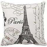 Funda de almohada manta, hidoon® lino y algodón Square Decor Throw funda de almohada cojín Colorful Imagine 18x 18pulgadas, algodón, Paris Eiffel Tower, 18x18 Inch