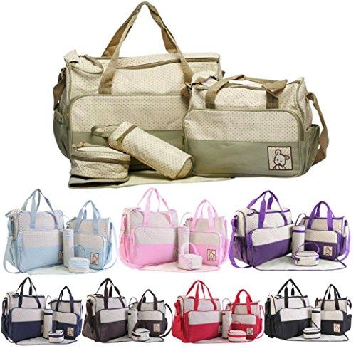 ESAILQ 5Pcs Baby Dot Nappy Changing Bags Set Mummy Imperméable à l'eau sac de l'hôpital de Couches