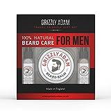 Grizzly Adam - Kit de cuidado de la barba para hombre, ingredientes 100 % naturales fabricados en el Reino Unido, hidratan y nutren tu barba y piel incluso en movimiento.
