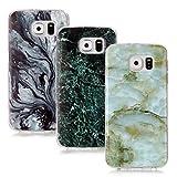 CLM-Tech Galaxy S6 Zubehör Set, 3X TPU Gummi Hülle für Galaxy S6 Case Silikonhülle 3er Set, Marmor Muster schwarz grau grün Mix