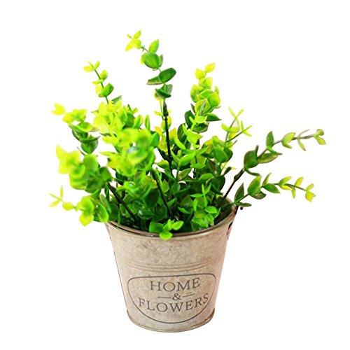 Biback Künstlicher Mini Künstpflanzen Dekoration, Simulierte Pflanze Simulierte Bonsai Kleine Ornament Grüne Pflanze Bonsai Retro Blumentopf Innendekoration