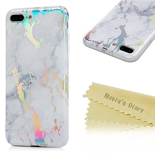 Badalink Hülle für iPhone 7 Plus Marmor TPU Case Buntes Cover Ultraslim Handyhülle Glat Marble Schutzhülle Silikon Bumper Schutz Tasche Schale Antikratz Backcover mit 1 * Eingabestifte in Schwarz Grauweiß
