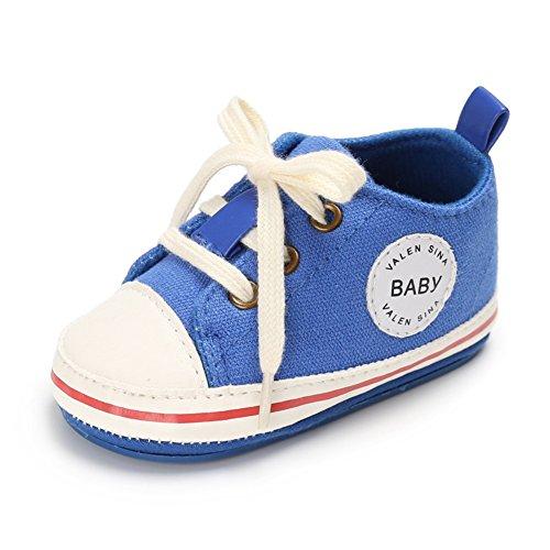 WYSBAOSHU Süße Baby-Leinwand-Turnschuh Anti Skid Weicher Netter Trainer Schuhe, Blau-2, Gr. S/3-6 Monate (Manufacture size:1) (Baby-schuh Blau)