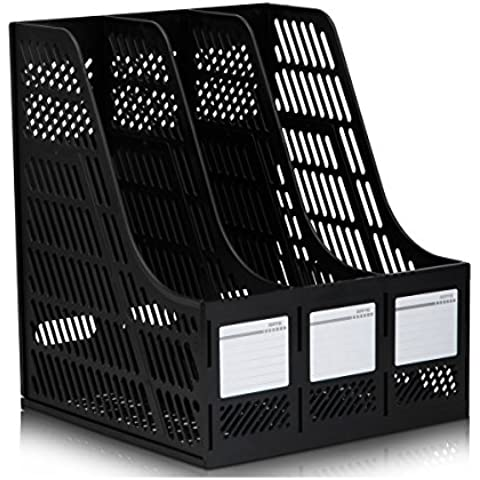 SE&ES Sturdy Desktop Triplicate Magazine Plastic Holders Frames File Dividers Document Cabinet Rack Display and Storage Organiser Box Triplicate nero - Desktop Hanging File