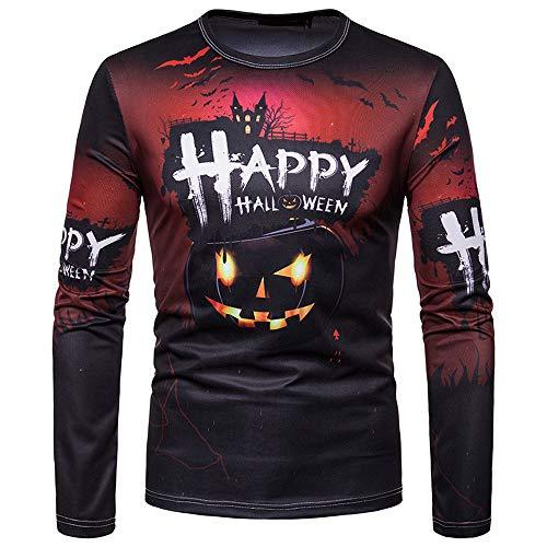 UJUNAOR Unisex Frauen Männer Herbst Winter Halloween Gedruckt Top Langarm T-Shirt Bluse(Schwarz,CN L) (Einfache Basteln Halloween-maske)