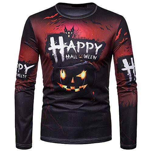 UJUNAOR Unisex Frauen Männer Herbst Winter Halloween Gedruckt Top Langarm T-Shirt Bluse(Schwarz,CN L)