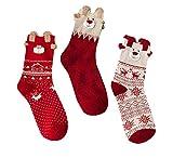 KaloryWee Heißer Verkauf 1 oder 3 Paar neue Weihnachtssocken Weihnachtsgeschenk Damen Wintersocken Frauen Baumwollsocken Multi-Color Weihnachten Socken Mit einer kleinen Geschenkbox