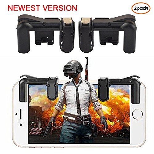 Teepao Mobile Game-Controller, Sensitive Gaming Induktion Shoot und Zieltasten für PUBG/L1R1/Messer Out/Regeln des Survival/Fortnite/Survivor/Royale, für Android IOS Tablet (2 Paar) schwarz schwarz (Iphone Sechs Entsperren)
