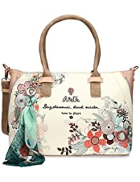 Anekke - Bolso de tela para mujer Multicolor beige M