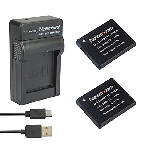 Newmowa® NB-11L Battery (2-Pack) and Portable Micro USB Charger kit for Canon NB-11L and Canon PowerShot A2300 IS, A2400 IS, A2500, A2600, A3400 IS, A3500 IS, A4000 IS, ELPH 110 HS, ELPH 115 HS, ELPH 130 HS, ELPH 320 HS, ELPH 340 HS (2 batteries+1 charger)